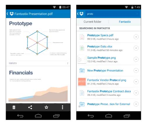 Dropbox app android