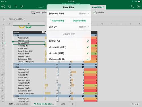 Excel for iPad, Microsoft