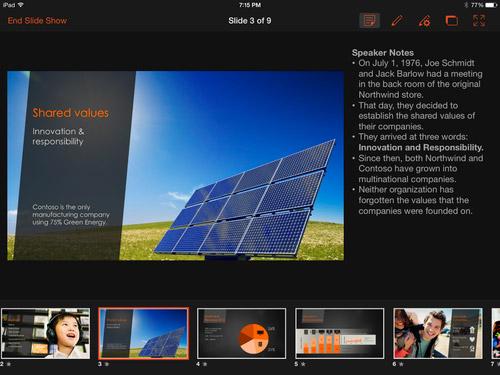 PowerPoint for iPad, Microsoft