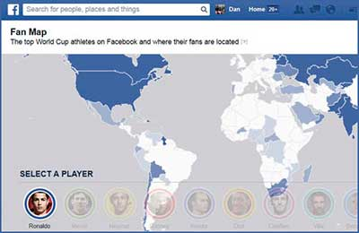 Mapa mundial fútbol Facebook