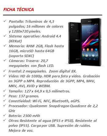Ficha técnica Sony Xperia Z1 Compact