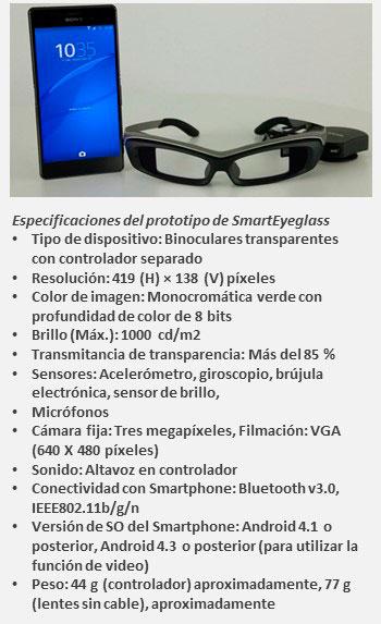 Sony SmartEyeglass especificaciones
