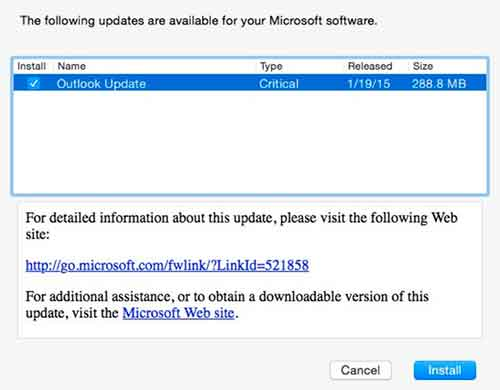 Microsoft Outlook para preview de Mac