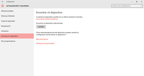 Windows 10, Encontrar mi dispositivo