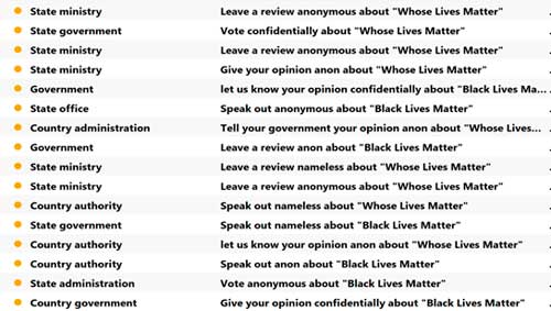 black lives matter, spam. seguridad